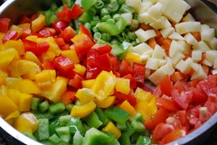 step 1 Capsicum veg pulao - Chopped veggies